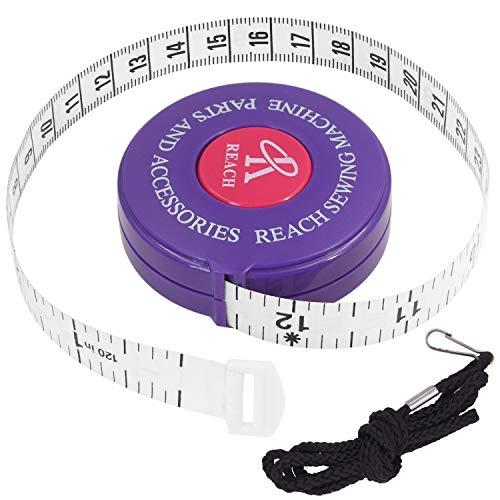 FEELCAT 巻き尺 自動巻取り式 テープメジャー 150cm/60inch 両面用 巻尺 PU&ナノ材料 超柔軟 高温抵抗 テーラーメジャー オートメジャー 周囲測定用 縫製テーラー定規 ソフトルーラー 裁縫用 手芸用 (パープル-300cm/120i