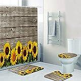 SHUOFUSH Tablero de Madera rústica Girasoles Cortina de Ducha Juego de Cortinas de baño Vintage Girasol Floral Cortinas de baño Alfombras Impermeables Alfombra