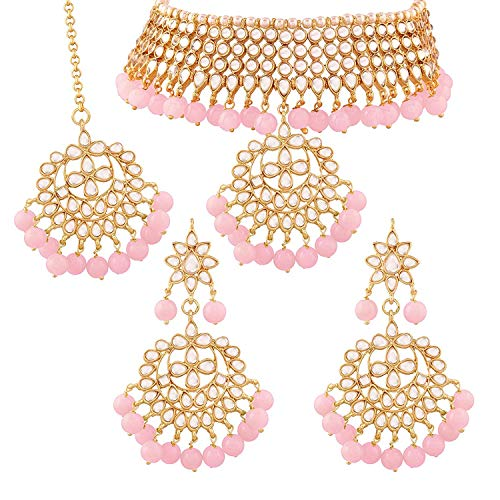 Aheli Indian Traditional Maang Tikka with Kundan Necklace Earrings Set - Ethnic Wedding Party Designer Jewellery for Women (Pink)
