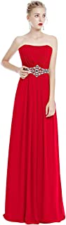 Women Strapless Ruched Long Bridesmaid Evening Maxi Dress Sweetheart Chiffon Formal Wedding Party Prom Gown