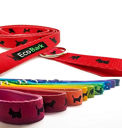 EcoBark Comfort Dog Leash-Eco-Friendly Padded Durable Heavy Duty Strap, Padded Handle for Pulling, Bright Colors - Leash Lead for Full Control When Dog Training and Walking (Red)