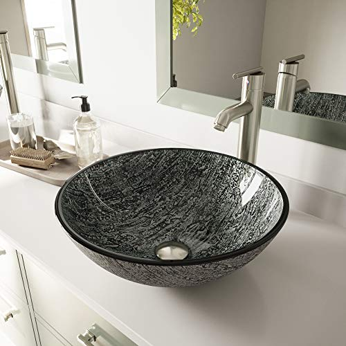 VIGO VG07050 Titanium Glass Vessel Bathroom Sink,Black And Silver / Titanium