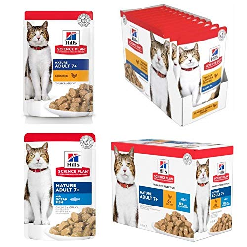 Hill's Science Plan Mature Adult Wet Pouches 24 X 85g Chicken And 24 X 85g Fish Selection For Senior Cats Over The Age Of 7 Years Enriched To Promote Healthy Immune System Strength