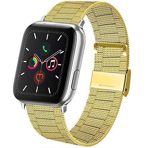 AK kompatibel mit Apple Watch Armband 38mm 40mm 42mm 44mm, Metall Edelstahl Ersatzarmband kompatibel mit iWatch Series 5/4/3/2/1 (07 Gold, 38mm/40mm)