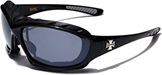Oversized Choppers Men's Sport Padded Motorcycle Bikers Sunglasses BLACK