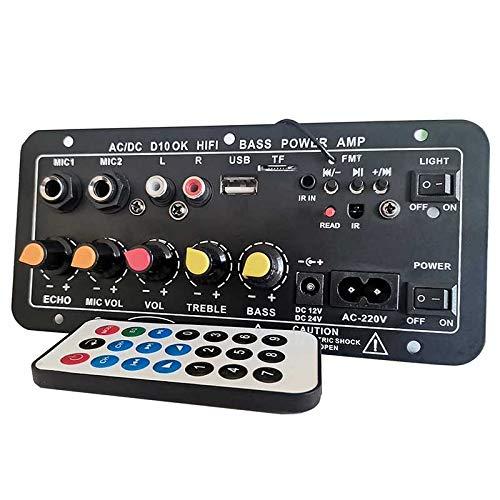BOINN Placa de Amplificador EstéReo Digital Subwoofer Amplificadores de Karaoke de MicróFono Dual para Altavoz de 8-12 Pulgadas Enchufe de la UE