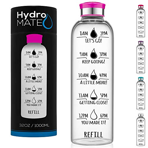 HydroMATE 32 oz Glass Water Bottle with Time Markers Track Water Intake with Motivational Times to Drink Water Reminders Hydro MATE 1 Liter (Pink)