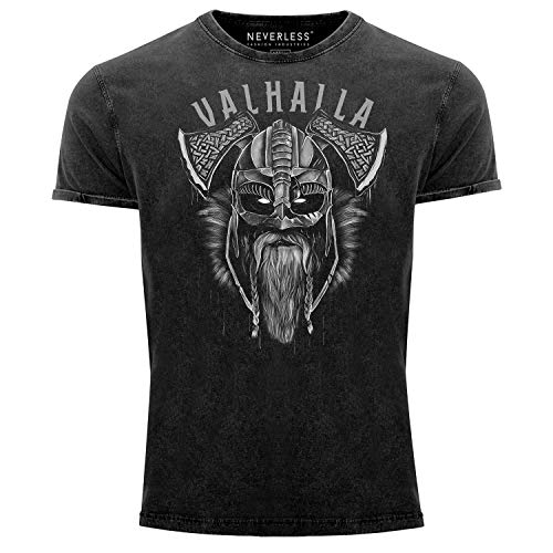 Neverless® Herren Vintage Shirt Valhalla Wikinger Helm Viking Odin Krieger Printshirt T-Shirt Aufdruck Used Look Slim Fit schwarz XL