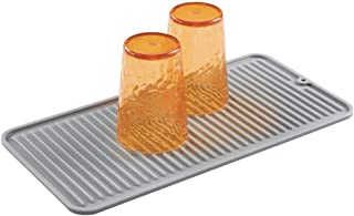 mDesign Silicone Dish Drying Mat and Protector for Kitchen Countertops, Sinks - Ribbed Design - Non-Slip, Waterproof, Heat...