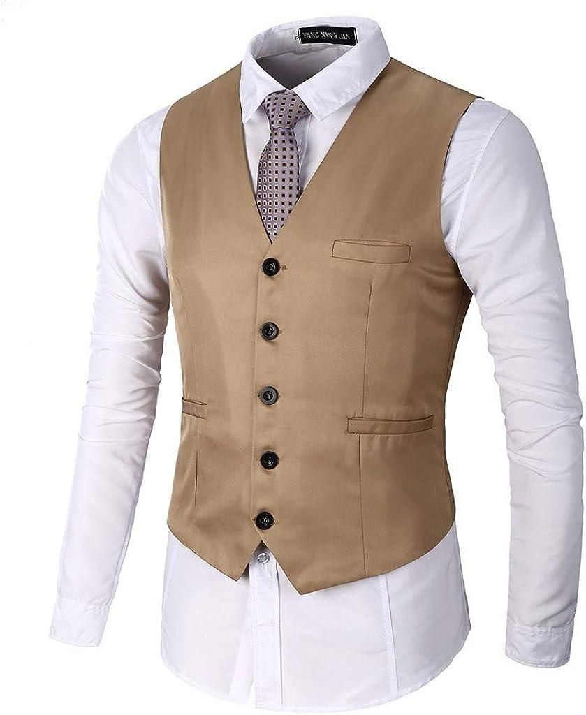 Men's Waistcoat Vintage Solid Formal Business Tuxedo Suit Vest Khaki