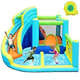 FBSPORT Inflatable Bounce House, Water Slide Park Slide Bouncer with Ball Shooting, Climbing Wall, Jumping and Splash Pool, Kids Bouncy Castle with 450W Air Blower for Outdoor Backyard