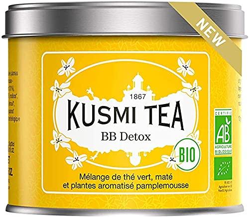 Kusmi Tea -Thé BB Detox bio - Mélange de Thé Vert bio, Thé Maté et Plantes Aromatisé Pamplemousse - À Déguster Chaud ou en Thé Glacé - Parfums Finement Acidulés -Boite Thé Métal 100 g - Env. 40 Tasses