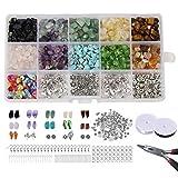 ZOYLINK Kit De FabricacióN De Joyas Chips Stones Set DIY Cuentas Irregulares Pendientes Gancho Accesorios