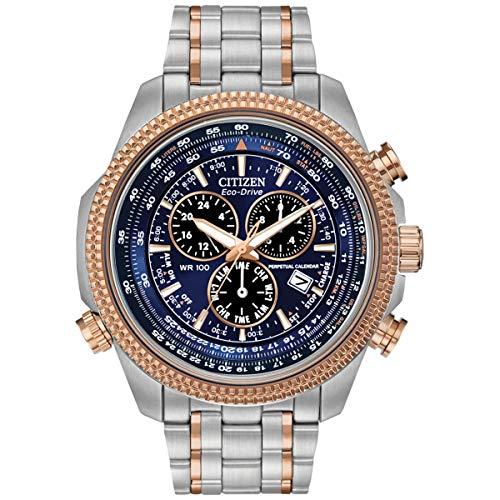 Relógio analógico masculino Citizen Eco-Drive cronógrafo dois tons pulseira de aço inoxidável mostrador preto