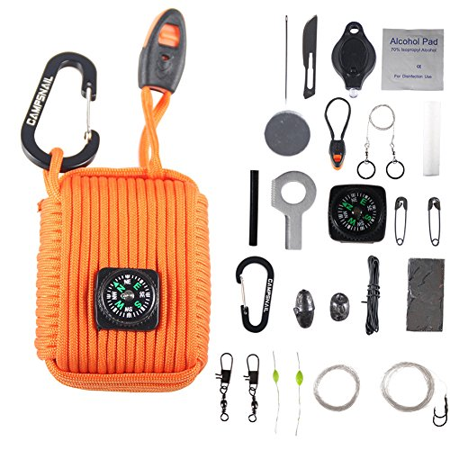 Campsnail 25 Accessories Emergency Survival Pod Kit wrapped in 550 lb Survival Grenade Cord for Emergencies (Orange)