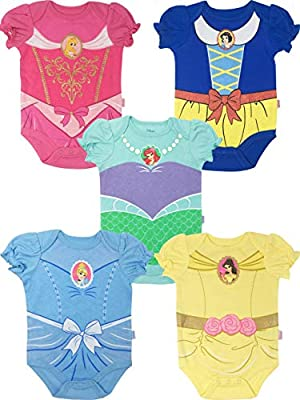 Disney Princess Baby Girls' 5 Pack Bodysuits Belle Cinderella Snow White Aurora, 3-6 Months