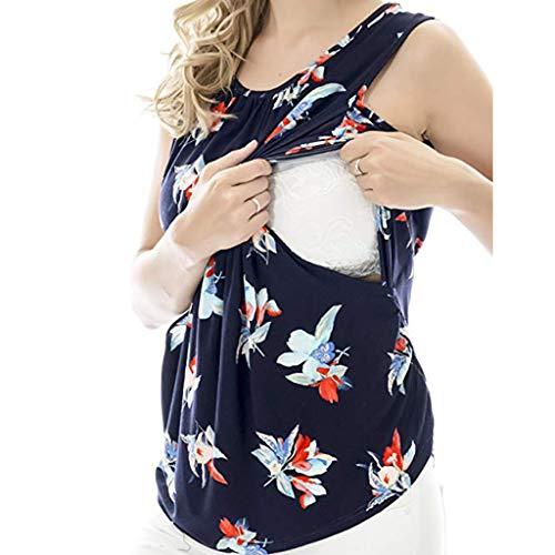 FRAUIT Camicia da Notte Allattamento Maglia Allattamento Fiori Maglia 2 in 1 per Allattamento T-Shirt Top prémaman Maglietta Gravidanza Divertente Magliette Premaman Eleganti (S, Blu)