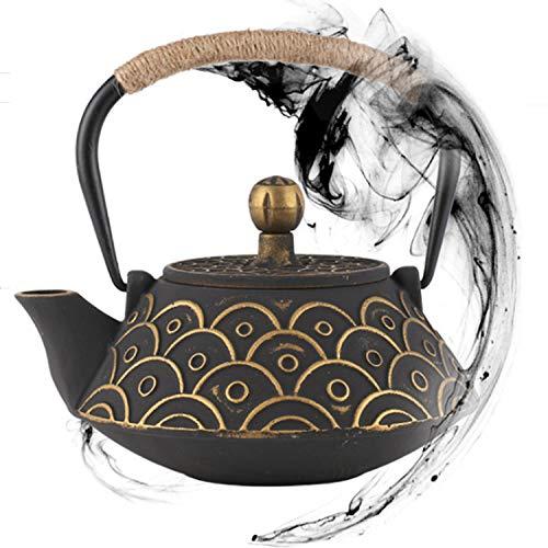 Tetera japonesa de hierro fundido Tetsubin para mejor sabor, infusor de acero inoxidable y dos tazas de té chino (900 ml) diseño antiguo, 2 tazas de hierro – Art Collection & Antique (dorado)