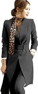 Women's 2 Piece Business Mid Long Blazer and Pants Suit Set with Belt Single Button Work Office Blazer Jacket