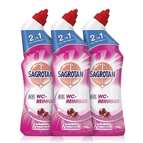 Sagrotan WC-Reiniger Granatapfel & Kirschblüte – Reinigungsmittel für langanhaltende WC-Frische – 3 x 750 ml Toilettenreiniger im praktischen Vorteilspack