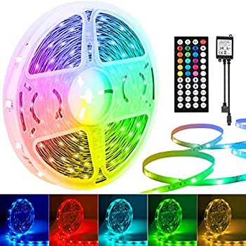 LED Strip Lights 50ft/15m 5050 RGB LED Strips with 44 Keys IR Remote and DC 24V Power Supply 1 Roll of 50ft Color Changing LED Tape Lights for Bedroom Home Ceiling