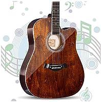 レトロなアコースティックギター アコースティックギター レトロなアコースティックギター フォークギター クラシックギター フルサイズ 41 '' ドレッドノート スプルース ギター スターターキット と ギグバッグ チューナー ストラップ ひも つやつや 、5色 (Color, Brown),Brown