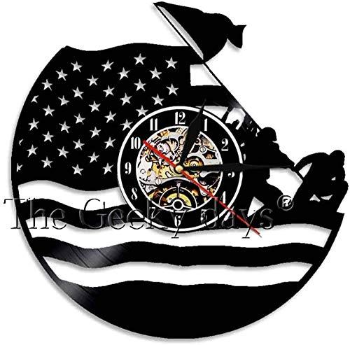 szhao Antike Vinyl amerikanische Flagge Wanduhr Jugendstil Streifen N Star Nationalflagge Wanduhr