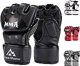 Brace Master MMA Gloves UFC Gloves Boxing Gloves for Men Women Leather More Paddding Fingerless Punching Bag Gloves for Kickboxing, Sparring, Muay Thai and Heavy Bag (Black, Medium)