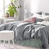 Pure Label Halbleinen Bettwäsche 135x200 Grau mit Kissenbezug 80x80. Graue Bettwäsche aus Leinen und Baumwolle. Farbe Grau / Dunkelgrau