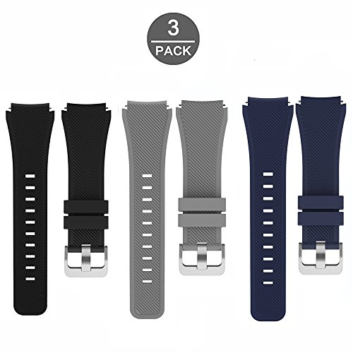 for Fossil Q Marshal Band, Lamshaw Classic Silicone Replacement Band for Fossil Q Marshal (3 Pack)