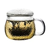 Tazza di vetro, tazza di tè martellata a mano trasparente, resistente al calore, alta borosilicato tazza, separatore di tè ispessito con manico, tazza da ufficio con coperchio