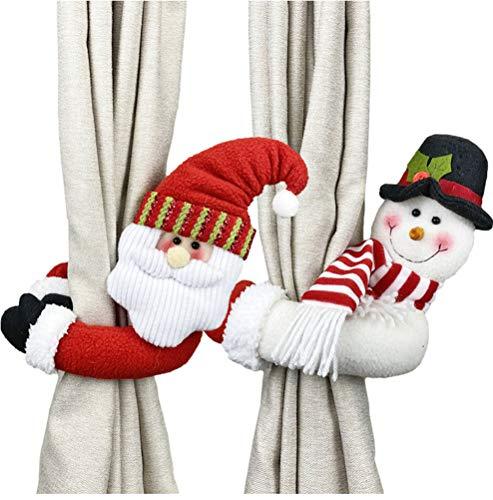 Surwin Cortina Decoraciones para árboles de Navidad, 2pcs Colgante de árbol de Navidad Decoraciones para el hogar Adornos Colgantes de Navidad Regalos de Adorno (50x23cm,A)