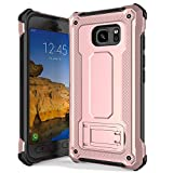 Anccer Armor Series for Samsung Galaxy S7 Active Case with Kickstand Anti Shock Dual Layer Anti Fingerprint Protective Cover for Galaxy S7 Active (Not Fit for Galaxy S7) - Rose Gold