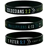 Inkstone (6-Pack) Faith Wristbands w/Bible Verses - Philippians 4:13, Colossians 3:2, & 1 Peter 5:7 - Adult Unisex Size for Teens Men Women