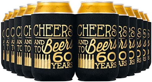 Crisky 60th Birthday Beer Sleeve Cheers and Beers to 60 Years Birthday Decoration Party Favor product image