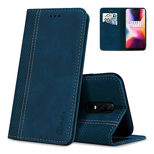 AKABEILA Oneplus 6 Hülle Leder, Oneplus 6 Handyhülle Silikon, Kompatibel für Oneplus 6 Schutzhülle Brieftasche Klapphülle PU Magnetverschluss Kartenfächer Hüllen, Blau