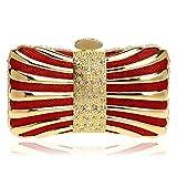 LBY - Bolsa de cena para mujer, de metal, cuadrada, vestido de noche, para banquetes, maquillaje, bolsa de almacenamiento, poliéster, Rojo, 17x10x5.5cm