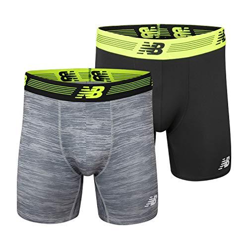 New Balance Mens Premium Performance 9' Boxer Brief Underwear 2-Pack, Black/Steel Woodgrain, Medium (32'-34')