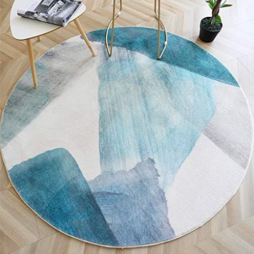 Zhanyi Modern Fashion Teppich Rundmaschinen Weaving weichen Teppich Wohnzimmer Bodenmatte Schlafzimmer Bettvorleger Maschine waschbar, Anti-Rutsch (Größe : 63