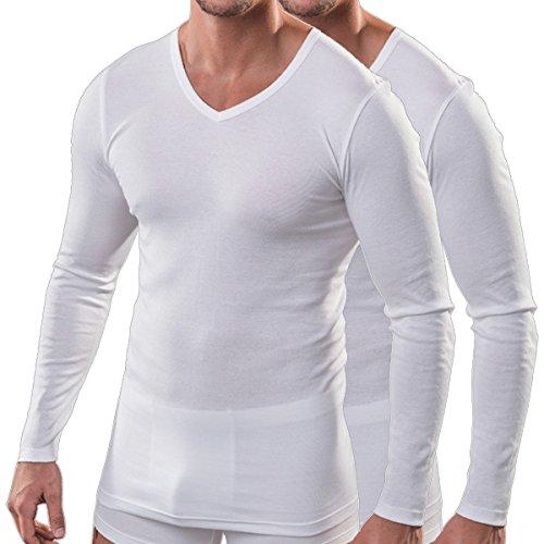 HERMKO 164680 2er Pack Herren Langarm Shirt mit V-Ausschnitt aus Baumwolle/Modal, Größe:D 5 = EU M, Farbe:weiß