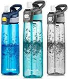Newdora Trinkflasche 750ml Wasserflasche Mit Trinkhalm BPA Frei Aufklappbarer Deckel mit Tragegriff Auslaufsicher Sportflasche für Outdoor, Yoga, Schule,Büro,(Blau)