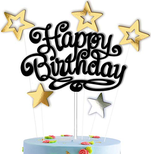 Happy Birthday Cake Topper Black with Stars Gold - Silver for Party Decorations Set Mirror Glitter for Girls Boys