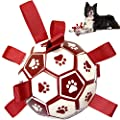 Dog Toys, Dog Football - Interactive Fetch Toy Dog Ball. Outdoor Garden Toys with Straps for Tug Games, Swimming Pools & Dog Training - Red