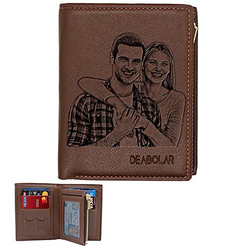 Aolun Billetera Personalizada Hombre,Cuero Billetera,Billeteras Personalizadas Foto para Dia Del Padre Regalos