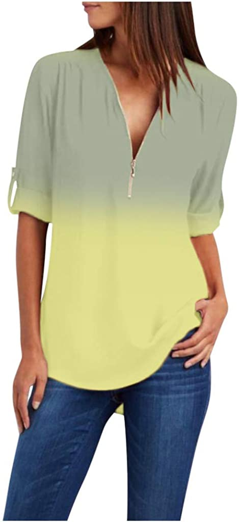 XUETON Womens Casual Award Online limited product Shirts Loose Fit V-Nec Gradient Lightweight