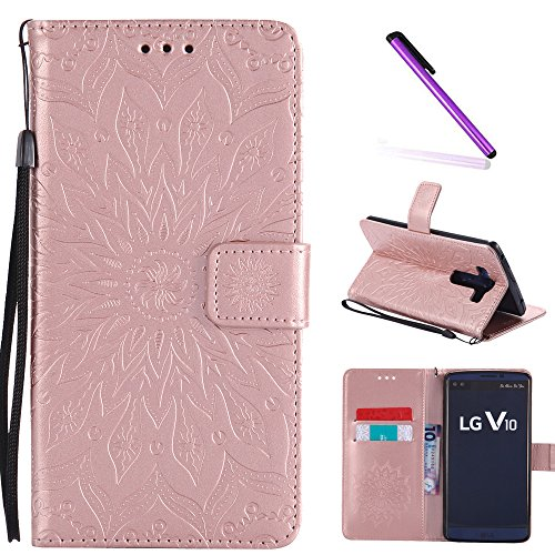 LG V10 Case,LEECOCO Fancy Embossed Floral Pattern Wallet Case with Card / Cash Slots [Kickstand] Shockproof Premium PU Leather Flip Case Cover for LG V10 with 1 x Stylus Pen Mandala Rose Gold