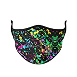 Top Trenz Reusable Face Mask Made with Stretch Cloth for Everyday Use - Indoor/Outdoor Face Cover - Neon Splatter - Kids Ages 3-7