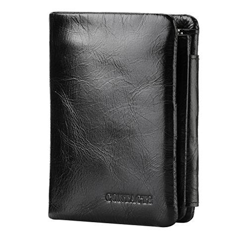 Contatti in vera pelle a portafoglio per uomo trifold pieghevole Custodia per carte di credito nero Black2 taglia unica