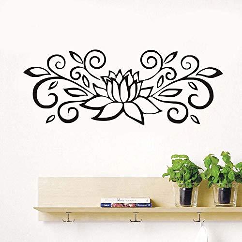 BailongXiao Abstrakt Blumen und blätter Lotus wandaufkleber Kunst wandbilder abnehmbare Selbstklebende tapete Wohnzimmer Aufkleber Dekoration 106x41 cm