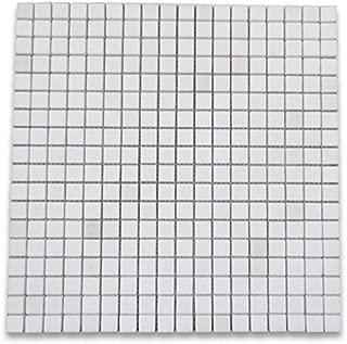 Thassos White Greek Marble Square Mosaic Tile 5/8 x 5/8 Honed